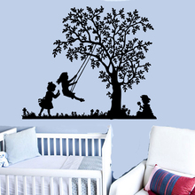 Grande albero altalena altalena vinili applique da parete ragazza del ragazzo dei bambini camera da letto della parete scuola materna della decalcomania di arte murale carta da parati ER58