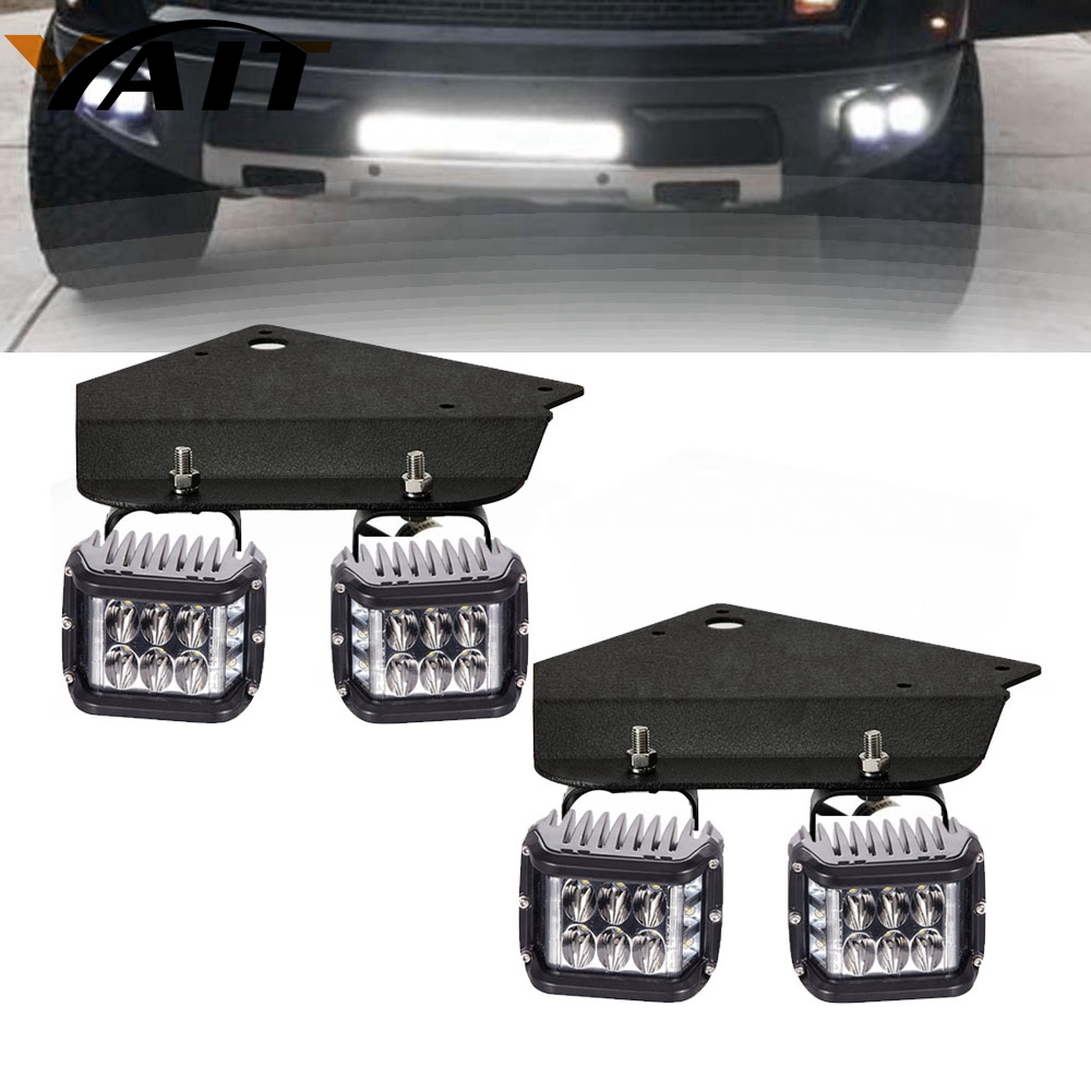 Yait 4X 4'' 36W LED Pod Lights + Bumper Holder Mount Brackets For Ford F150 Raptor
