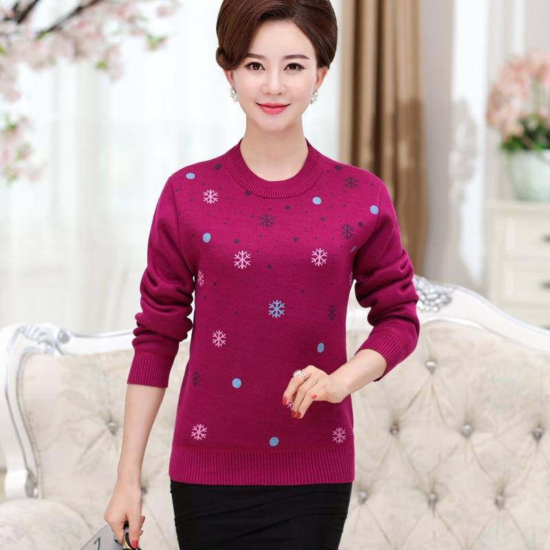 D'âge moyen des femmes automne et hiver plus cachemire épais rouge mère chandail chaud tricot chemise