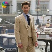 Slim Fit Khaki Men Suits for Wedding Groom Tuxedos 3 Pieces (Jacket+Pants+Vest) Best Man Groomsmen Blazer Prom Wear