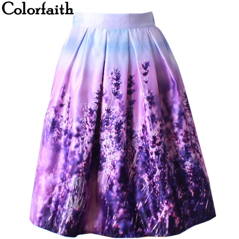Midi Skirt Womens Ball Gown Pleated Puff Ladies Saia Fashion Purple Lavender Floral Printed Flared Skater Skirt Women Saia SK031