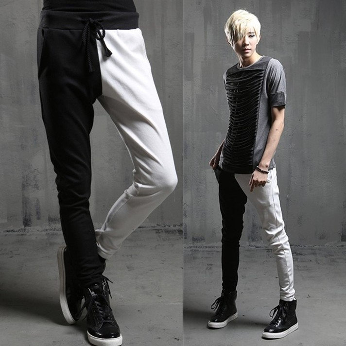 Black and White Patchwork Sport Pants Men Streetwear Trousers Punk Style Mens Elastic Waist Joggers Hip Hop Jogging Pants Men