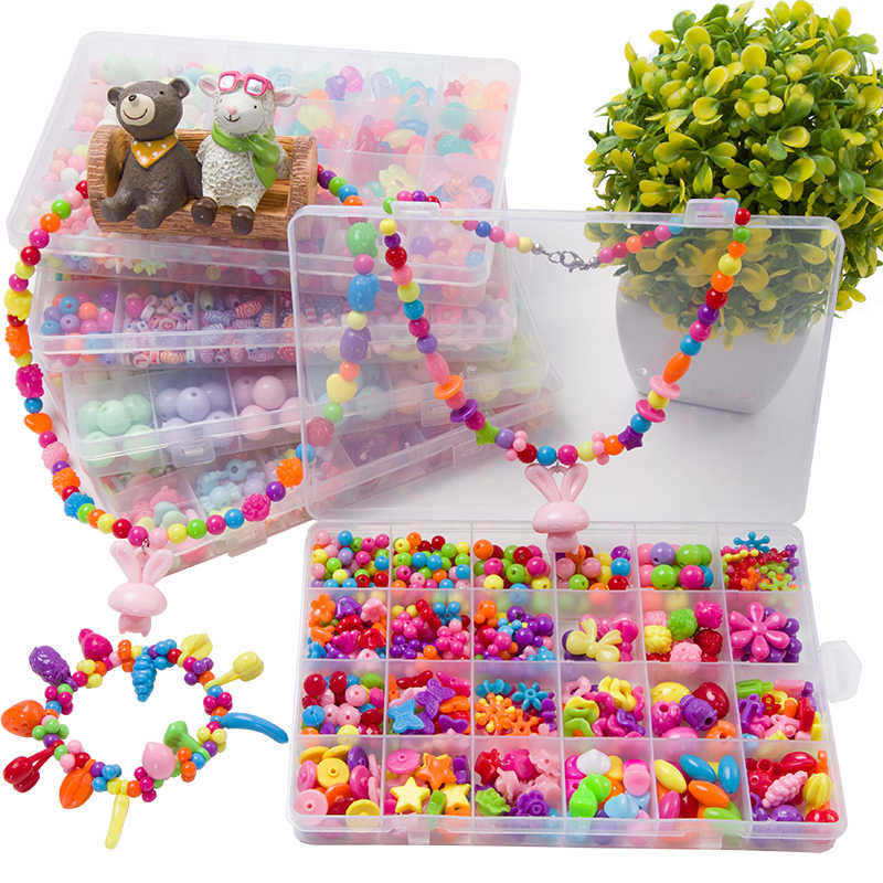 Assorted Plastic Acrylic Bead Kit Accessories DIY  Toys Jewelry Making Kids Beads Set Creative Gifts for children