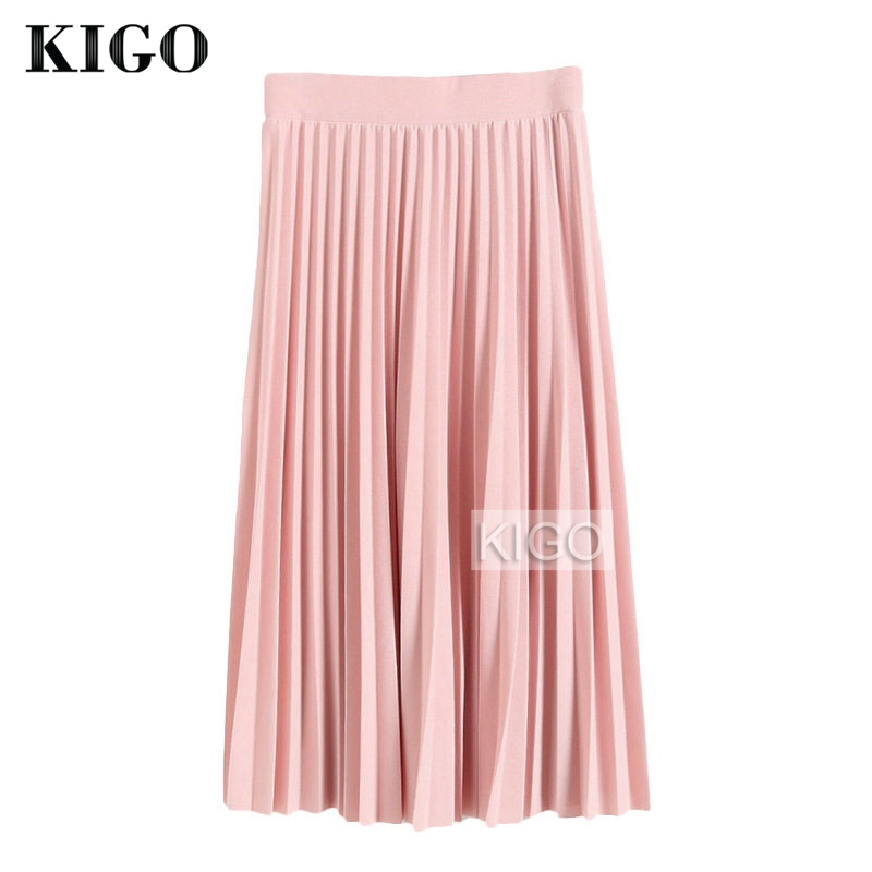 KIGO Pleated Skirt Autumn Winter 2016 European Style Elegant Tulle Pleated Skirt Women Vintage Midi High Waist Pink Skirt KJ0664