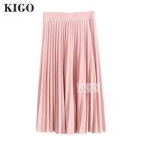 KIGO Pleated Skirt Autumn Winter 2016 European Style Elegant Tulle Pleated Skirt Women Vintage Midi High