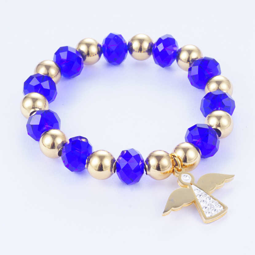 Yunkingdom 4 Colors Handmade Beads Charm Bracelet & Bangles Angel Pendant Bracelets for Women Girls Stainless Steel Jewelry