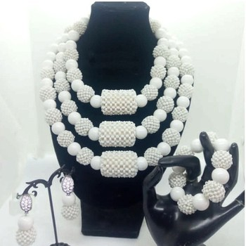 4UJewelry White Necklace Set Custom Color Handmade Big Balls Crystal Bridal Jewelry Set For African Women Nigerian Weddings 2019