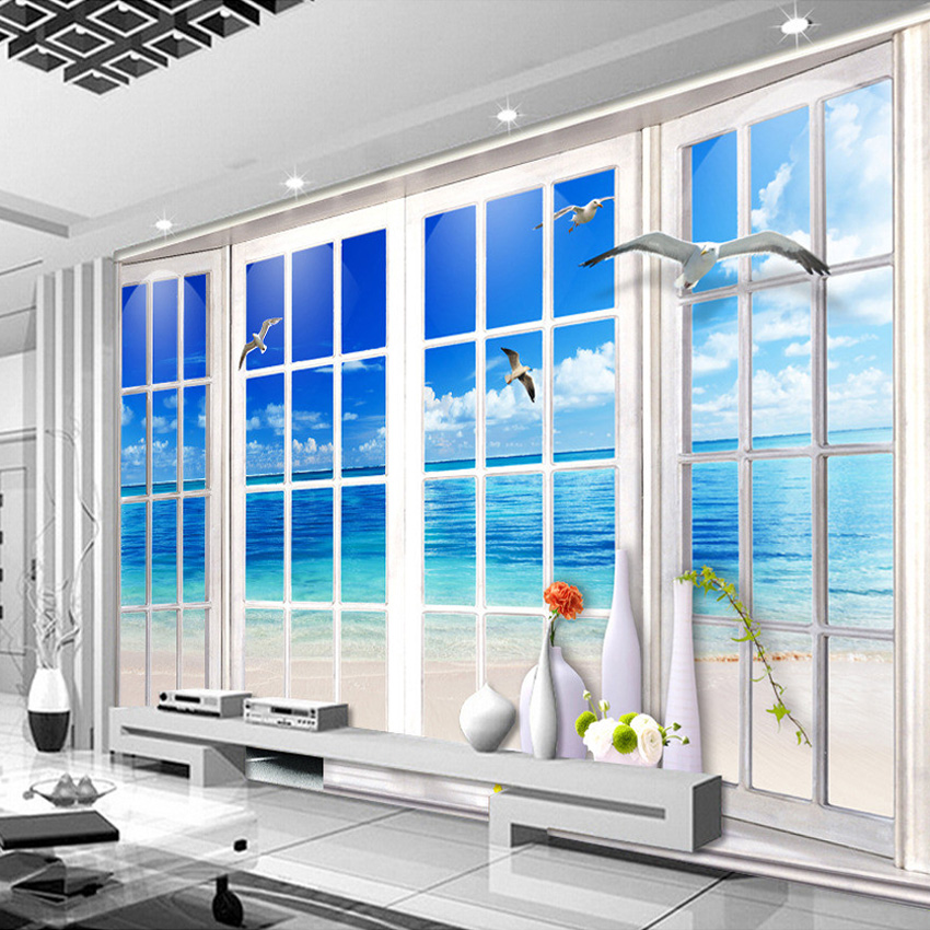 Custom 3D Photo Wallpaper Beach 3D Stereoscopic Window Landscape Living Room Sofa TV Backdrop Wall Mural Home Decor Wall Paper