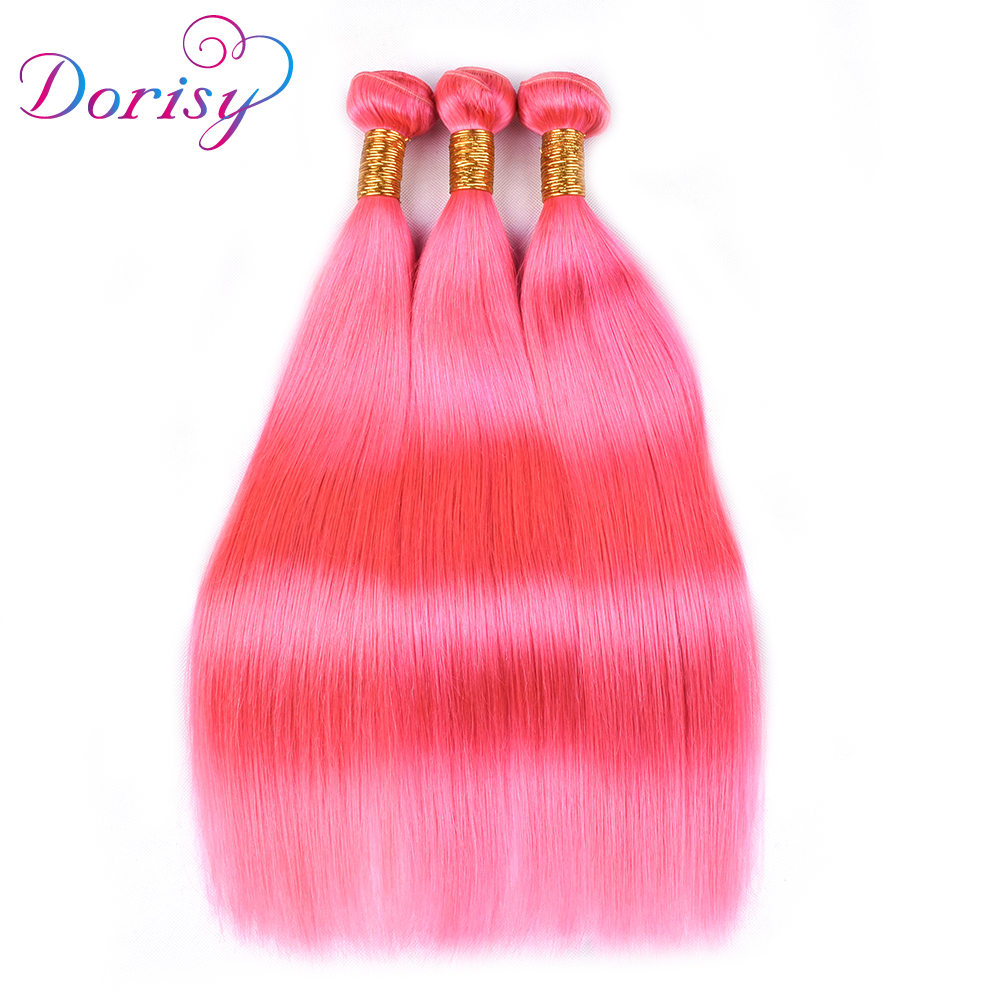 Dorisy Hair Peruvian Straight Hair 100% Remy Human Hair Weave Double Weft 10-28 Pink Color 3 Bundles Free Shipping