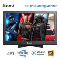Eyoyo 13.3 IPS CCTV Monitor PS3 PS4 Xbox One Xbox 360 WiiU 1920x1080 Display For Raspberry Pi Support 4K HDMI Input Screen