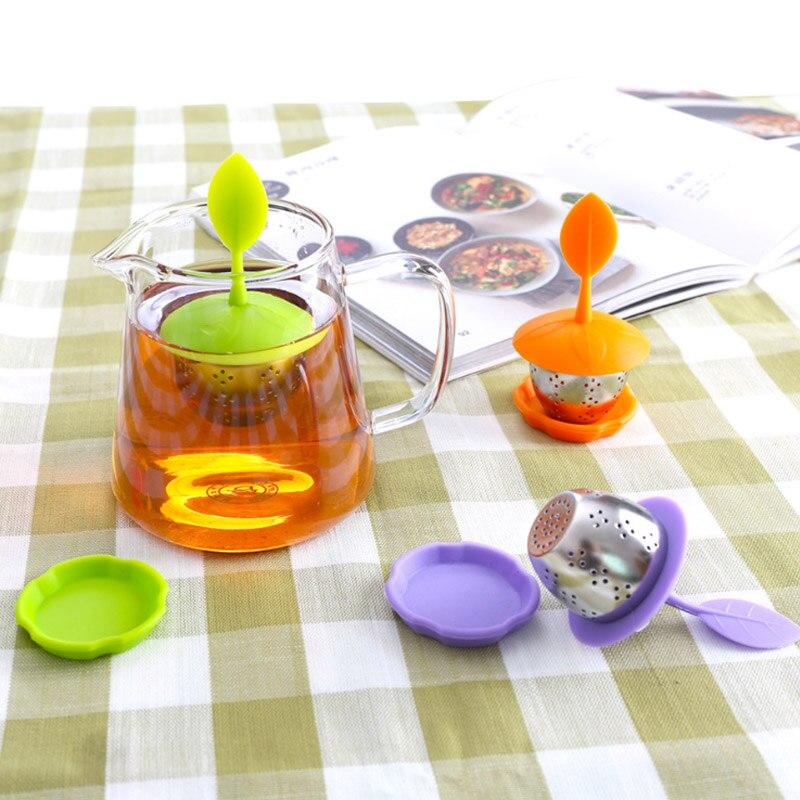 Tea Accessories Leaf Shaped 1Pcs Reusable Tea Infuser Food Grade Silicone Kitchen Gadgets Tea Strainer