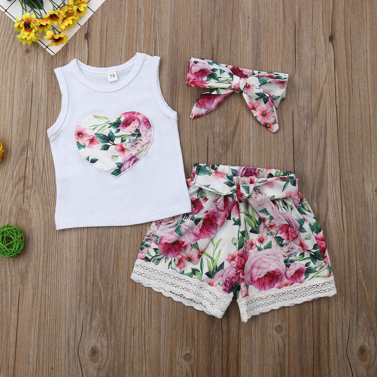 468af7244653 ... Emmababy 2019 Summer Newborn Baby Girl Clothes Sleeveless Floral Tops+LaceFloral  Shorts Outfits Set Sunsuit ...