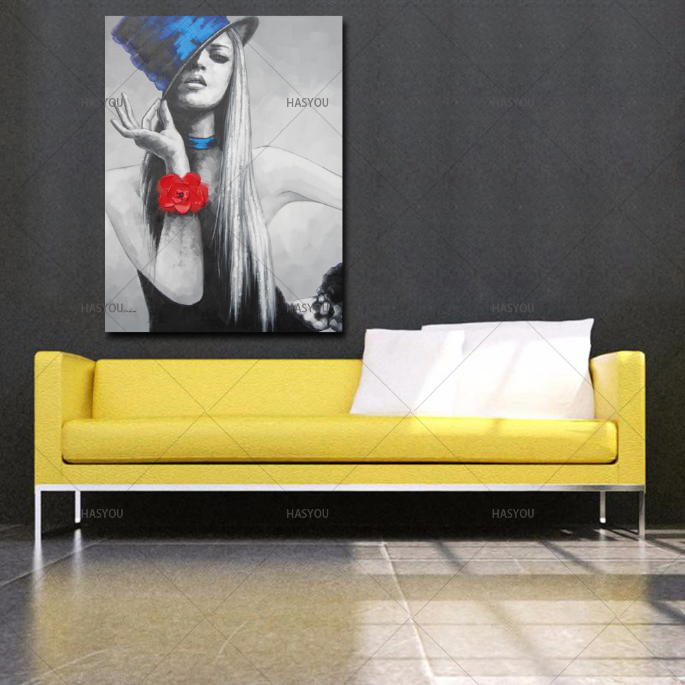 1 Panel Canvas wall Art 100% Hand Painted Abstract pretty women Oil ...