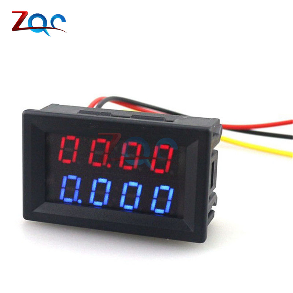 цена на 0.28 Inch Digital DC Voltmeter Ammeter 4 Bit 5 Wires DC 200V 10A Voltage Current Meter Power Supply Red Blue LED Dual Display