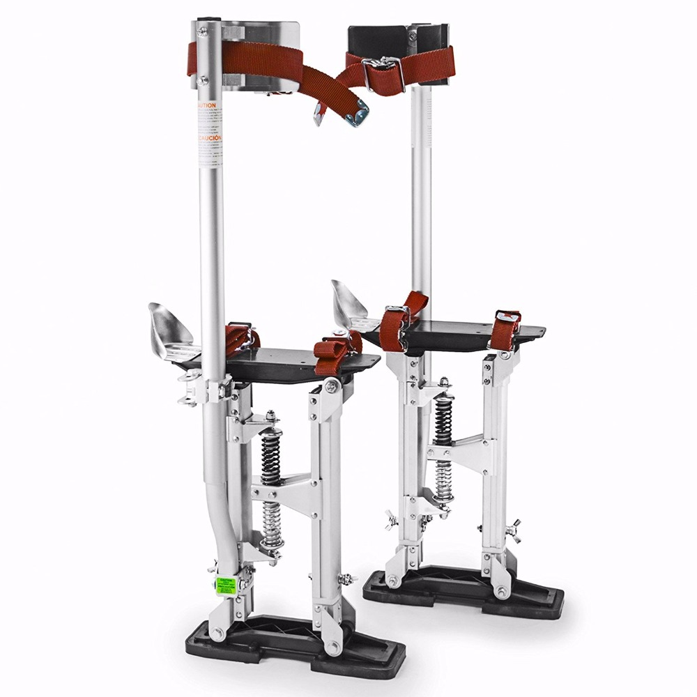 """Ajustable 18 """"- 30"""" Drywall Stilts Silver Painters Walking Taping Finishing Tools"""