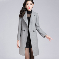 Winter Wool Coats Woman 2018 Gray Thicken Plus Size 4XL Slim Fit Double Breasted Long Coat Female Warm Jackets Feminino Fashion