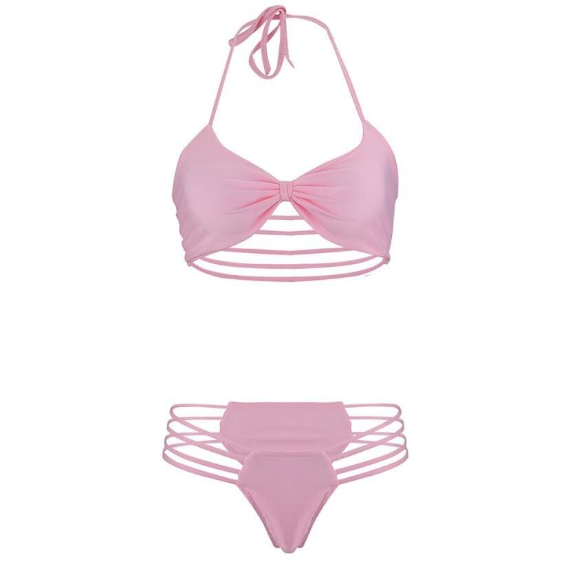 Women Sexy Solid Bandage Halter Bikini Set Ladies Hollow out Bikini Swimsuit Push-up Padded Swiming suit Women Zaful Swimwear