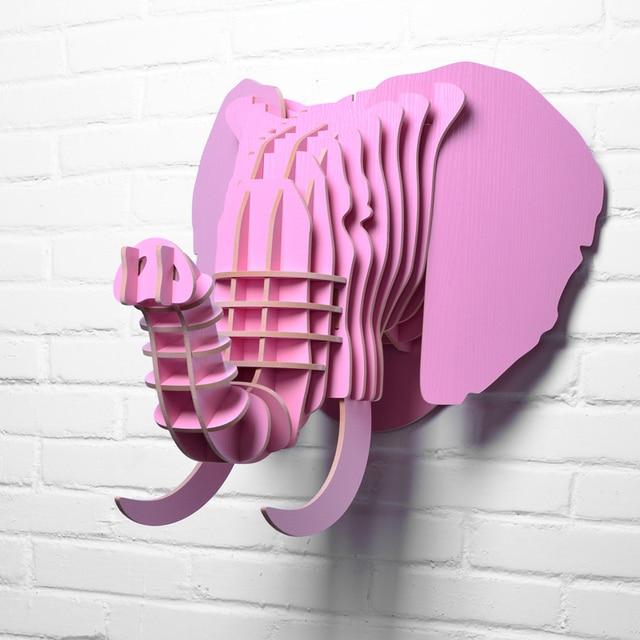 48x51x46 Cm Créatif Bois Animal Tête Sauvage éléphant Africain