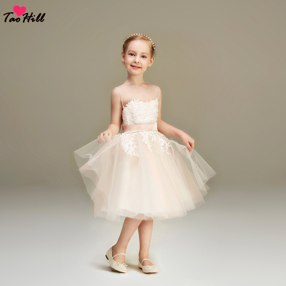 TaoHill Lovely O-Neck A-line Waist Band Lace Applique Light Champagne Tulle Kids Princess   Flower     Girl     Dress   Pageant Party Gown