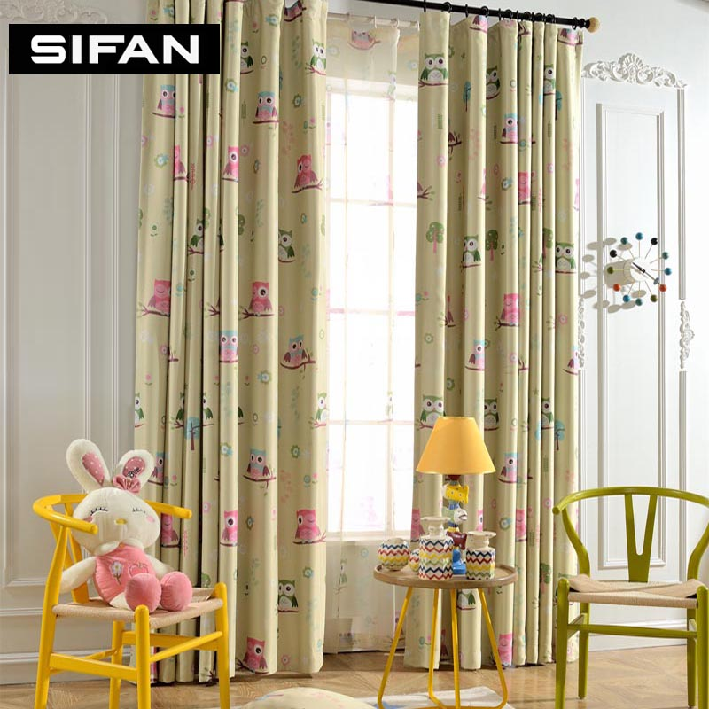 Us 9 06 55 Off Children Kids Curtain Cartoon Owl Pattern Printed Blinds For Childrens Baby Bedroom Living Room Window Curtains In From Home