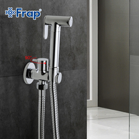 1 Set Solid Brass Single Cold Water Orner Valve Bidet Function Cylindrical Hand Shower Head Tap