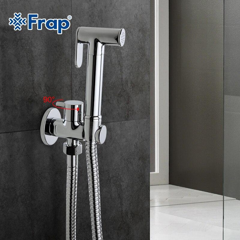 Frap1 Set Solid Brass Single Cold Water Corner Valve Bidet Function Cylindrical Hand Shower Tap Crane 90 Degree Switch F7501