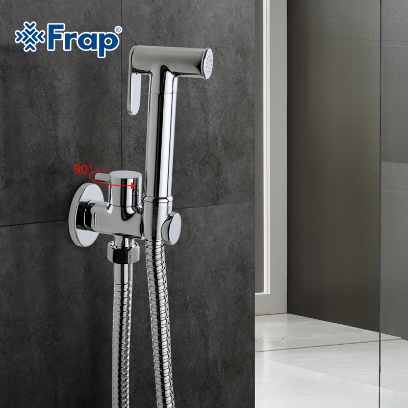 Frap1 Set Solid Brass Single Cold Water Corner Valve Bidet Function Cylindrical Hand Shower Tap Crane 90 Degree Switch F7501