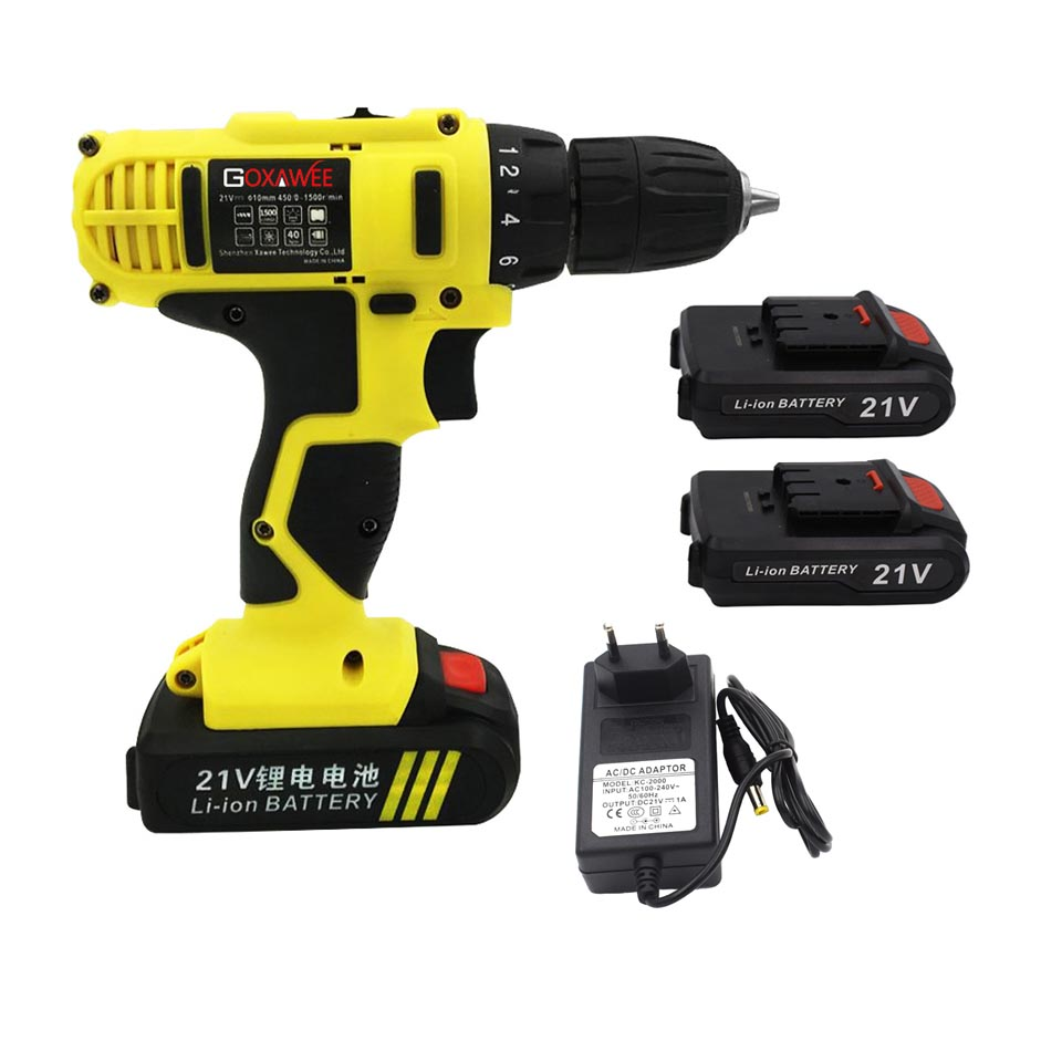 GOXAWEE 21V/12V/16.8V Electric Screwdriver Cordless With 2 Lithium Batteries Rechargeable Mini Drill 2 Speed Wireless Power Tool