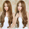 Charming 1pc Heat Resistant Full Lace Wigs Long Light Brown Deep Wave Silky Synthetic Hair Cosplay Costume wigs
