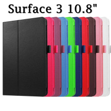 "Surface 3 Flip Cover for Microsoft Surface 3 10.8"" Tablet Case Litchi Grain PU Leather Case stand cover"