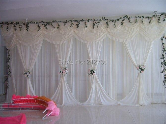 White Elegant Wedding Backdrop Curtain Marriage Wedding Stage Decoration  Express Free Shipping(China (Mainland