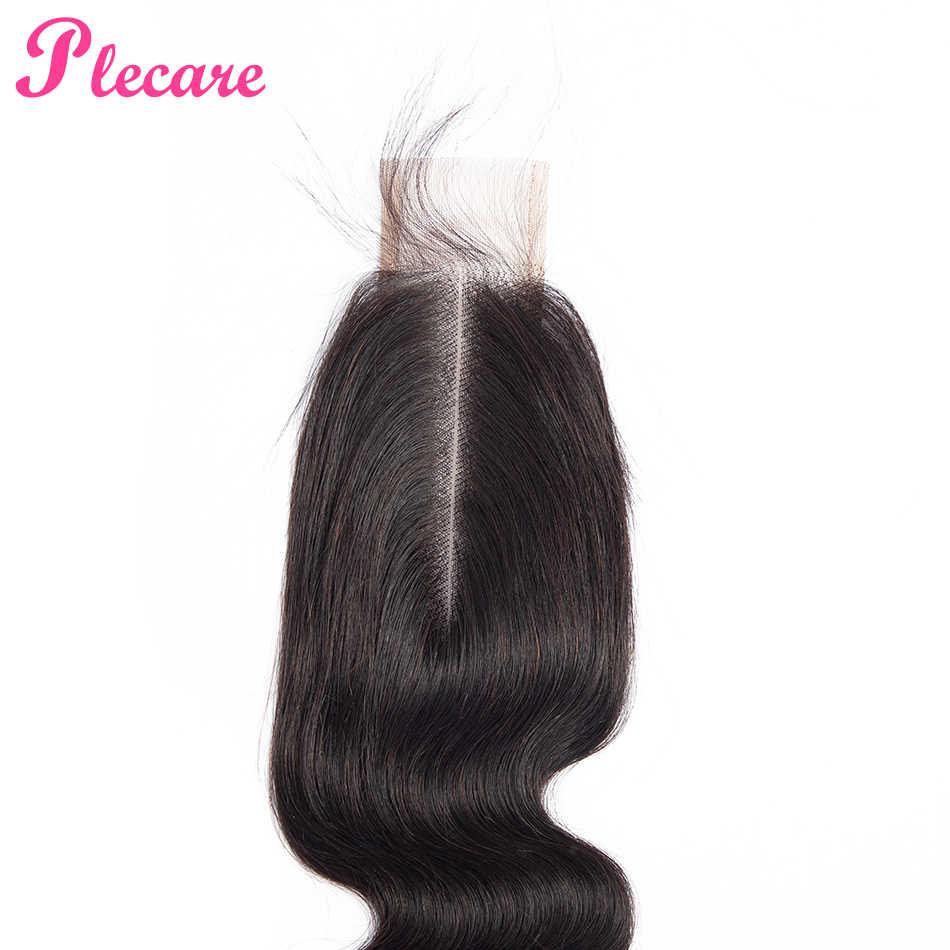 Plecare бразильские 2*6 Кружева Закрытие тела волна человеческих волос Закрытие с ребенком волос 8-22 дюймов не Реми средний коэффициент натуральный цвет