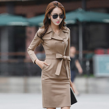 New Women Autumn Winter Elegant Dresses Long Sleeve Notch Lapel Buckled Vestidos Work Business Office Party Bodycon Sheath Dress