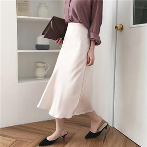 Image 3 - Женская длинная шелковистая юбка, летняя элегантная однотонная трапециевидная юбка миди на молнии с высокой талией