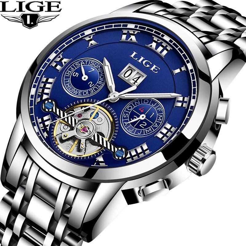 LIGE Для мужчин s часы лучший бренд класса люкс Для Мужчин's Tourbillon автоматические механические часы Мужская Мода часы бизнес класса Relogio Masculino