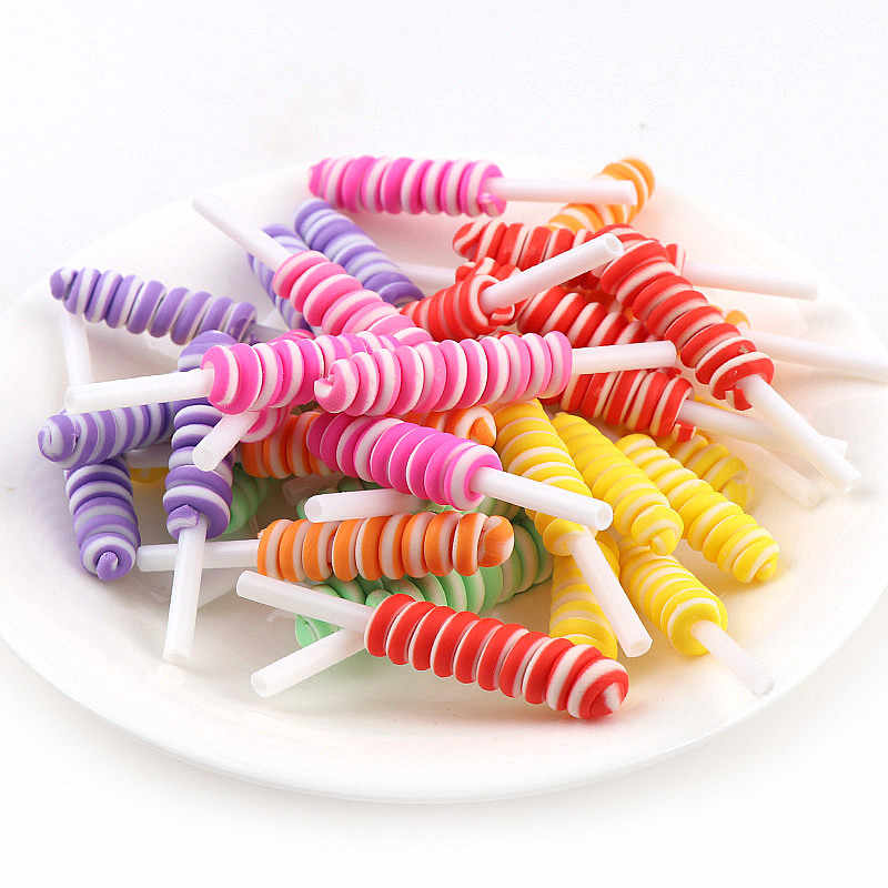 10pcs/lot 9*10mm Cute Simulation Polymer Clay lollipop Jelly Candy Resin Cabochons For DIY Simulation Food Kids Toys