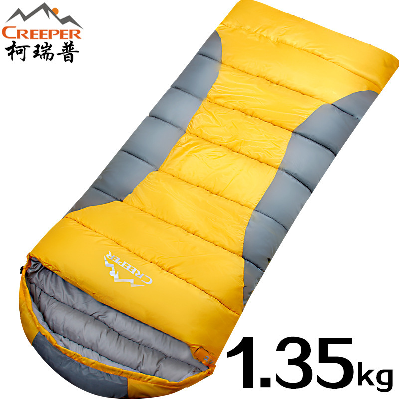 Creeper Outdoor Adult Ultra Light Thicken Autumn and Winter Envelope Sleeping Bag Camping Lunch Break Cotton Sleeping Bag