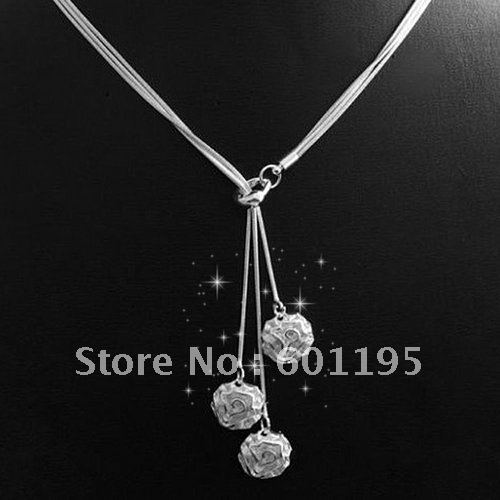 new 2013 925 sterling silver plating rose pendant necklace