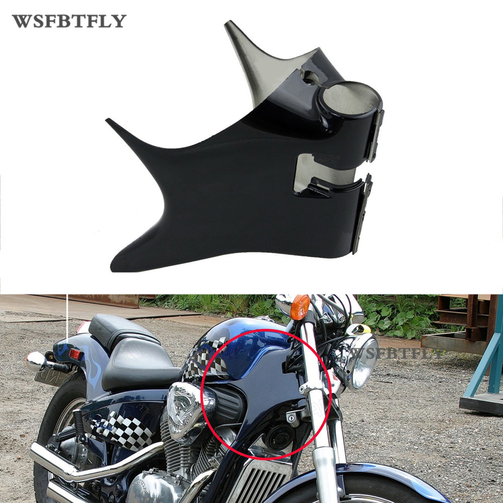 New Black Frame Neck Cover Cowl For Honda Shadow VT600 VT 600 VLX 600 STEED400 Motorcycle ABS Plastic chrome switch housing cover for honda shadow 600 vt 750 1300 vtx vt1300c vlx ace