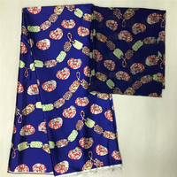 DF!2018 Popular Wax fabric Top Quality Vintage Silk wax cloth African Wax Prints Fabric 4+2yards/lot for Party Dress ! L102970