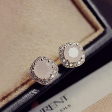 Fashion Top Quality Multi Prongs Cute Square Stone Pink CZ crystals Stud Earrings White Gold Color Women Jewelry