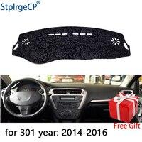Latest Rose Pattern Non slip Car Dashboard Cover Dash Mat Pad DashMat ANti UV Car Sticker for peugeot 301 2014 2018 Car Styling