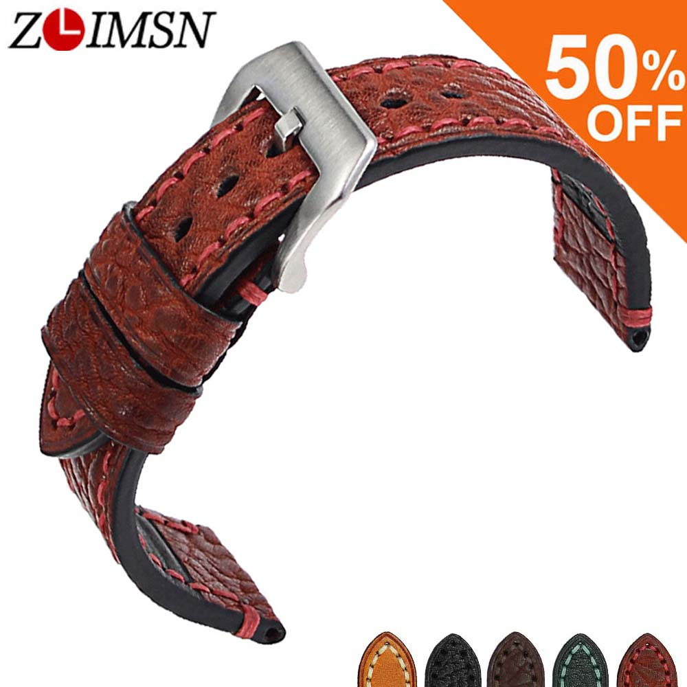 ZLIMSN New Men Genuine Leather Watchband  Accessories Wristbands 20mm 22mm 24mm 26mm Watch Band Strap Suitable for Panerai Watch 20mm 22mm 24mm 26mm khaki genuine leather watchband retro type watchband suitable for pam watches and rough watch free shipng