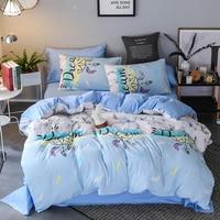Blue Pink Green flower printed Single Double Queen King Sizes 3pcs/4pcs bedding set for comforter bed linens set duvet cover set