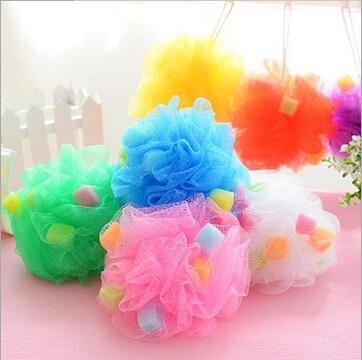 Mesh Pouf Sponge Bathing Spa Shower Scrubber Ball Colorful
