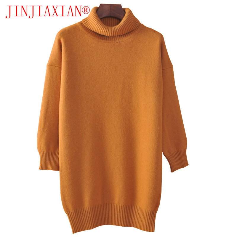 JINJIAXIAN Cashmere Blended Knitted Long Sweater Women Tops Autumn Winter Female Pullover Turtleneck Full Sleeve Solid Color2018