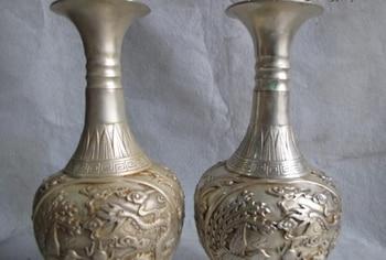 Par de jarrones de 9 cuentas chinas de cobre blanco plateado Palacio Real dragón Fénix