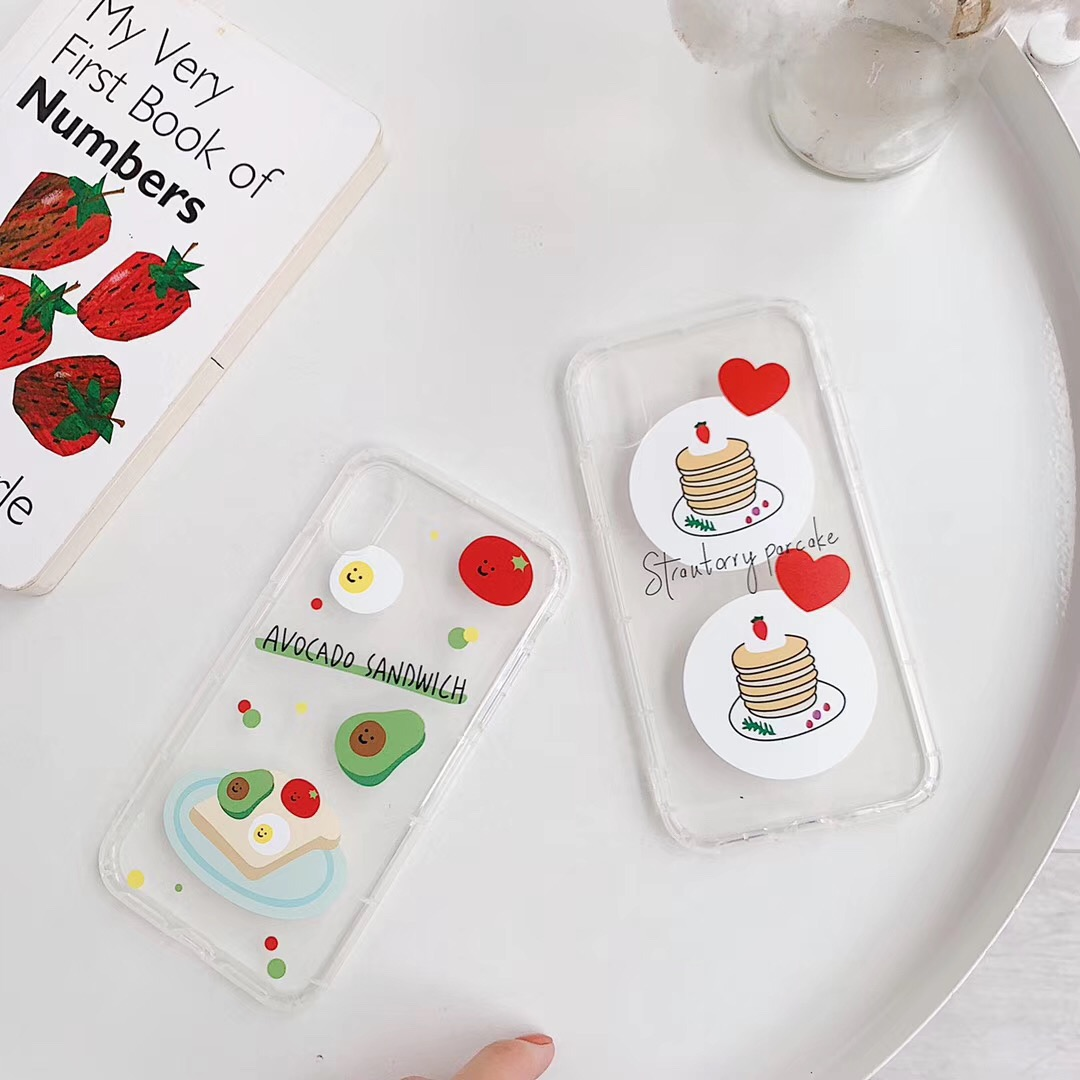 INS Korea Cute Strawberry Cake Avocado phone case for iphone Xs MAX XR X 6 6s
