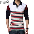 2016 spring  autumn casual mens stripe polo shirts men patchwork polo shirt slim fit M-3xl
