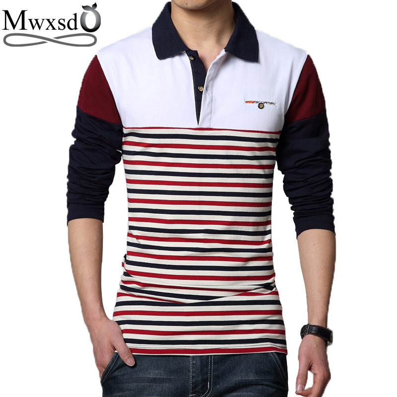 Mwxsd brand casual mens striped cotton   polo   shirts spring autumn men patchwork   polo   shirt slim fit M-3xl